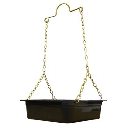 "Black Plastic Drip Tray (6"" Square) with Brass Yolk"
